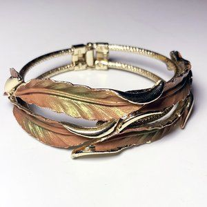 Vintage 50s Iridescent Leaves Hinged Bracelet MCM